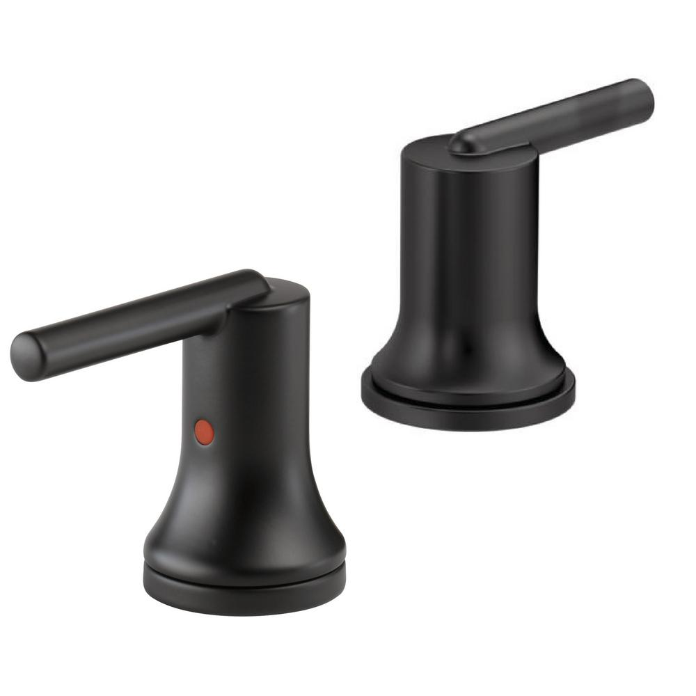 Delta trinsic bathroom lever handles in matte black 2 for Delta trinsic