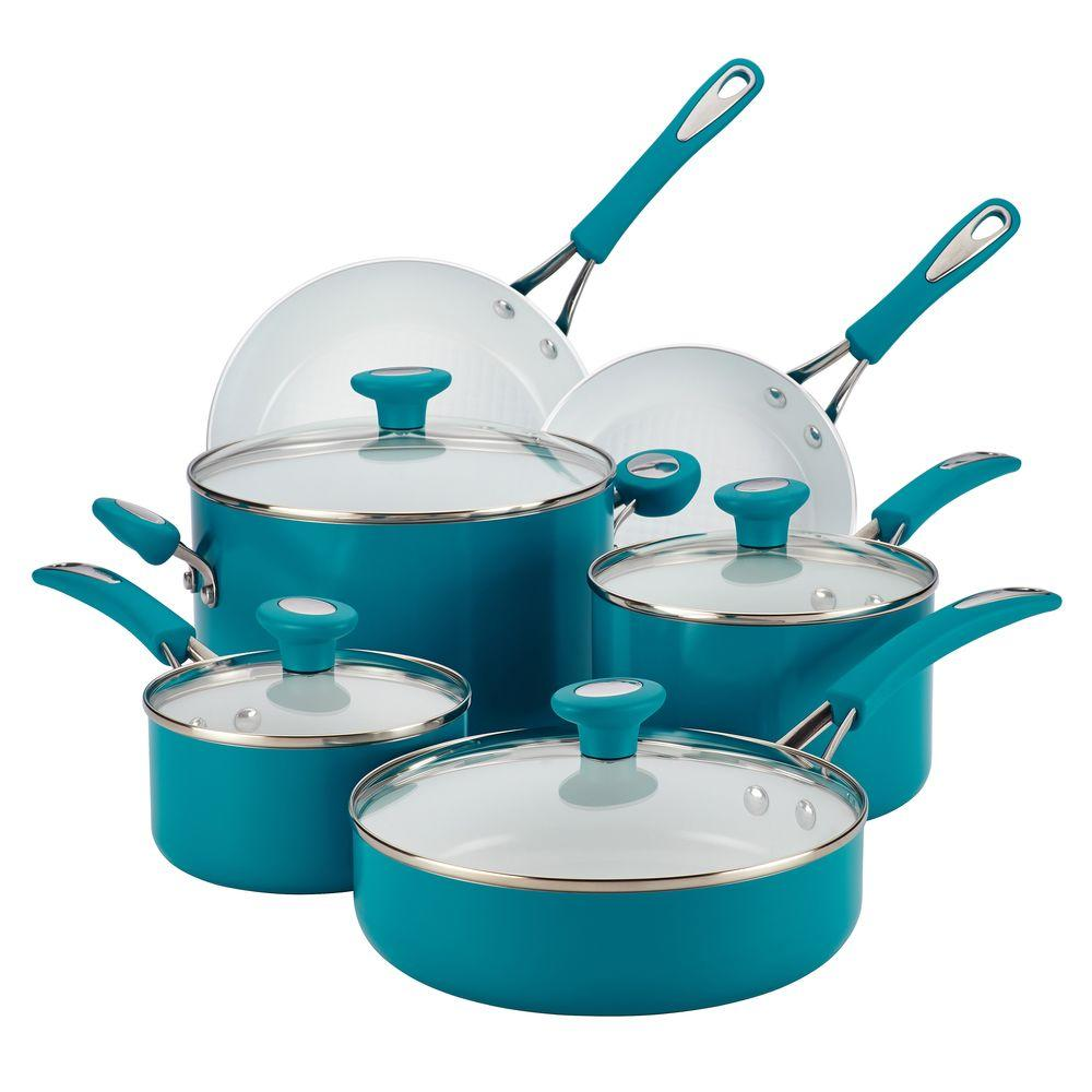 SilverStone Ceramic Cxi 12-Piece Marine Blue Cookware Set with Lids