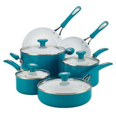 Ceramic Cxi 12-Piece Marine Blue Cookware Set with Lids