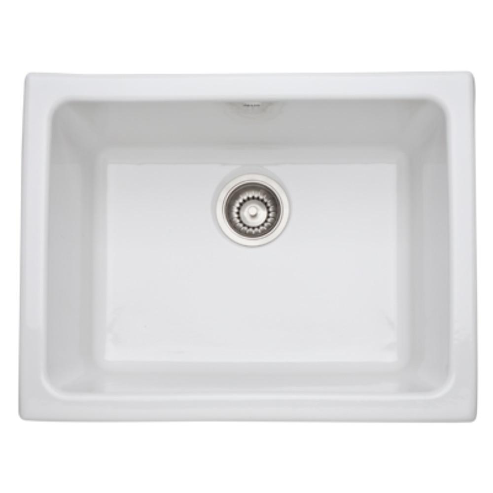 Allia Undermount Fireclay 24 in. Single Bowl Kitchen Sink in White