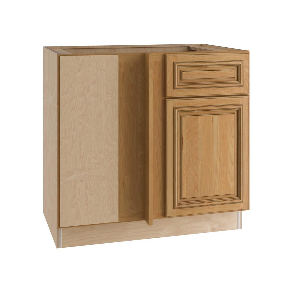 Home Decorators Collection Clevedon Assembled 36x34.5x24 in. Single Door & Drawer Hinge Left Base Kitchen Blind Corner Cabinet in Toffee Glaze
