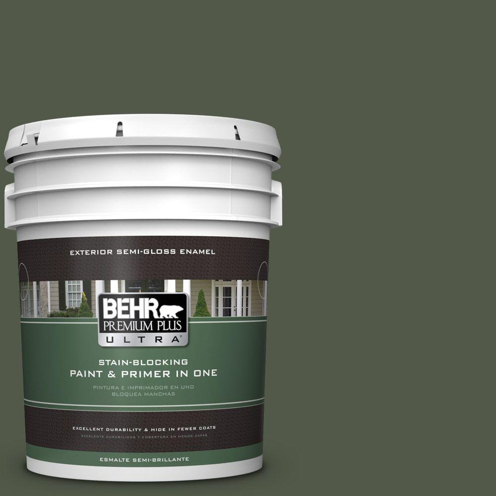 5-gal. #430F-7 Windsor Moss Semi-Gloss Enamel Exterior Paint