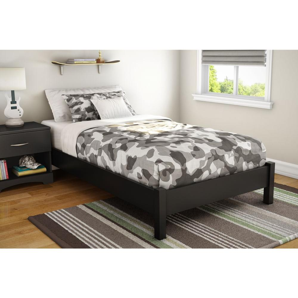 South S Step One Twin Size Platform Bed In Pure Black