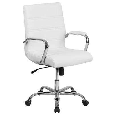 Mid-Back White Leather Executive Swivel Office Chair with Chrome Base and Arms