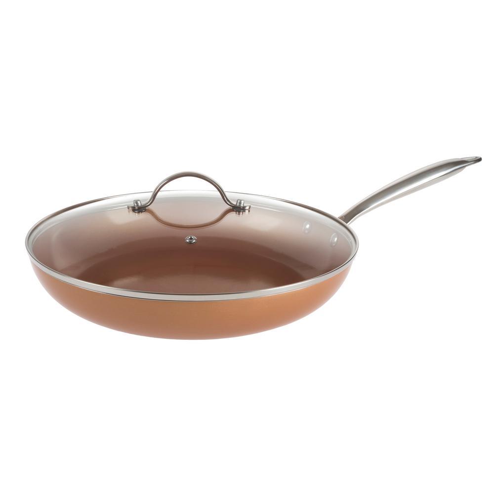 Allumi-Shield 12 in. Aluminum Ceramic Nonstick Grill Pan in Copper with Glass Lid