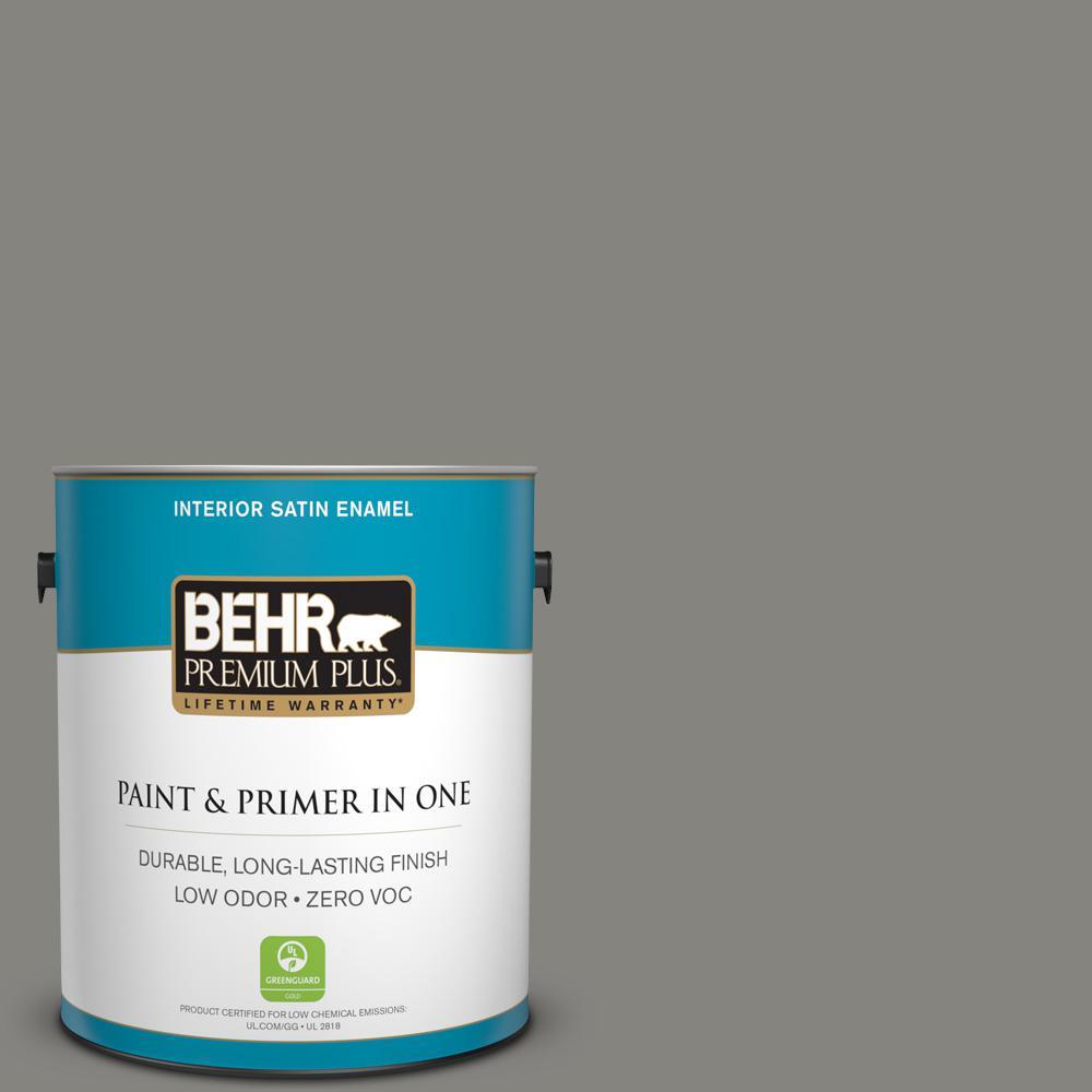 1 gal. #PPU24-07 Barnwood Gray Zero VOC Satin Enamel Interior Paint