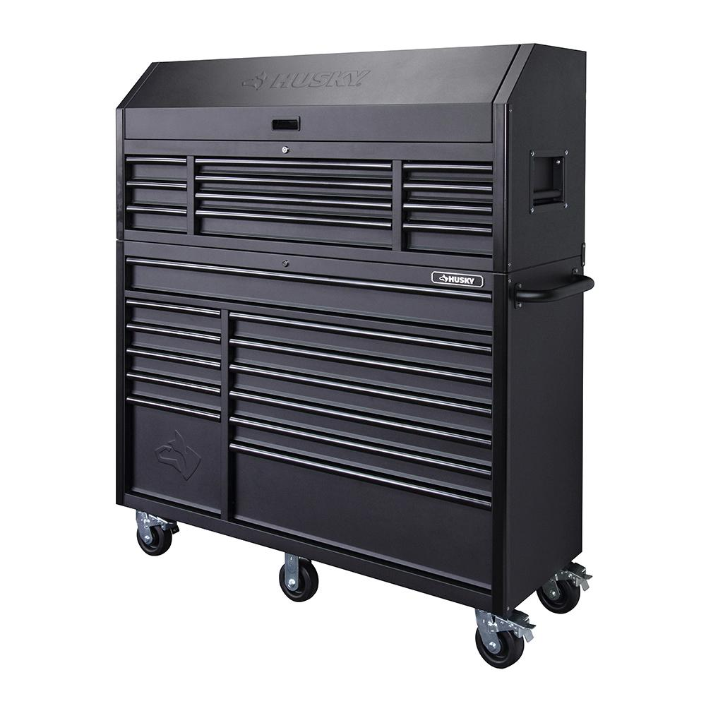 Husky Heavy-Duty 56 in. W 23-Drawer, Deep Combination Tool Chest and Rolling Cabinet Set in Matte Black