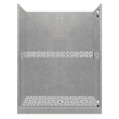 Del Mar Grand Hinged 42 in. x 60 in. x 80 in. Center Drain Alcove Shower Kit in Wet Cement and Chrome Hardware