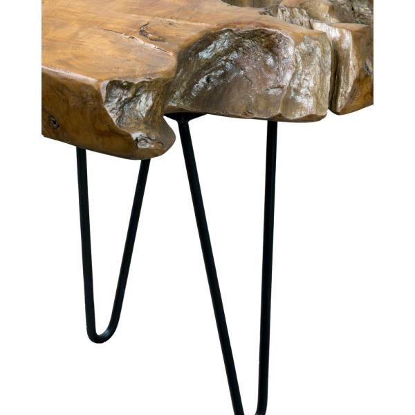 East At Main - Josie 43 in. Brown/Black Large Rectangle Wood Coffee Table with Live Edge