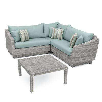 Cannes 4-Piece Patio Sectional Seating Set with Bliss Blue Cushions