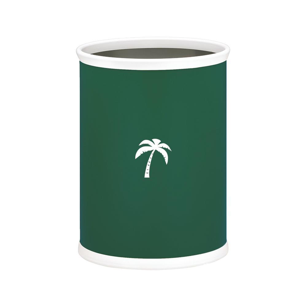 Kasualware Palm Tree 13 Qt. Oval Waste Basket in Green