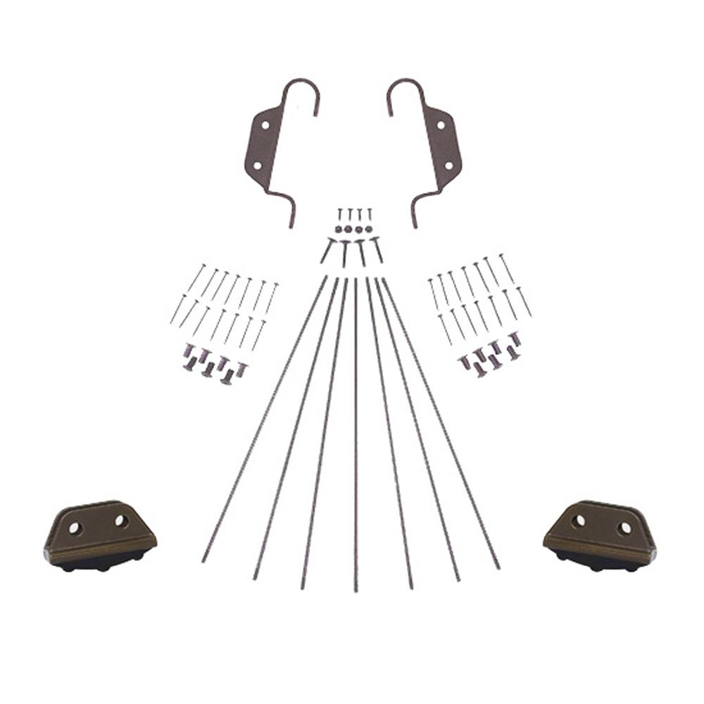 Oil Rubbed Bronze Double Hook Non-Rolling Ladder Hardware Kit for 20