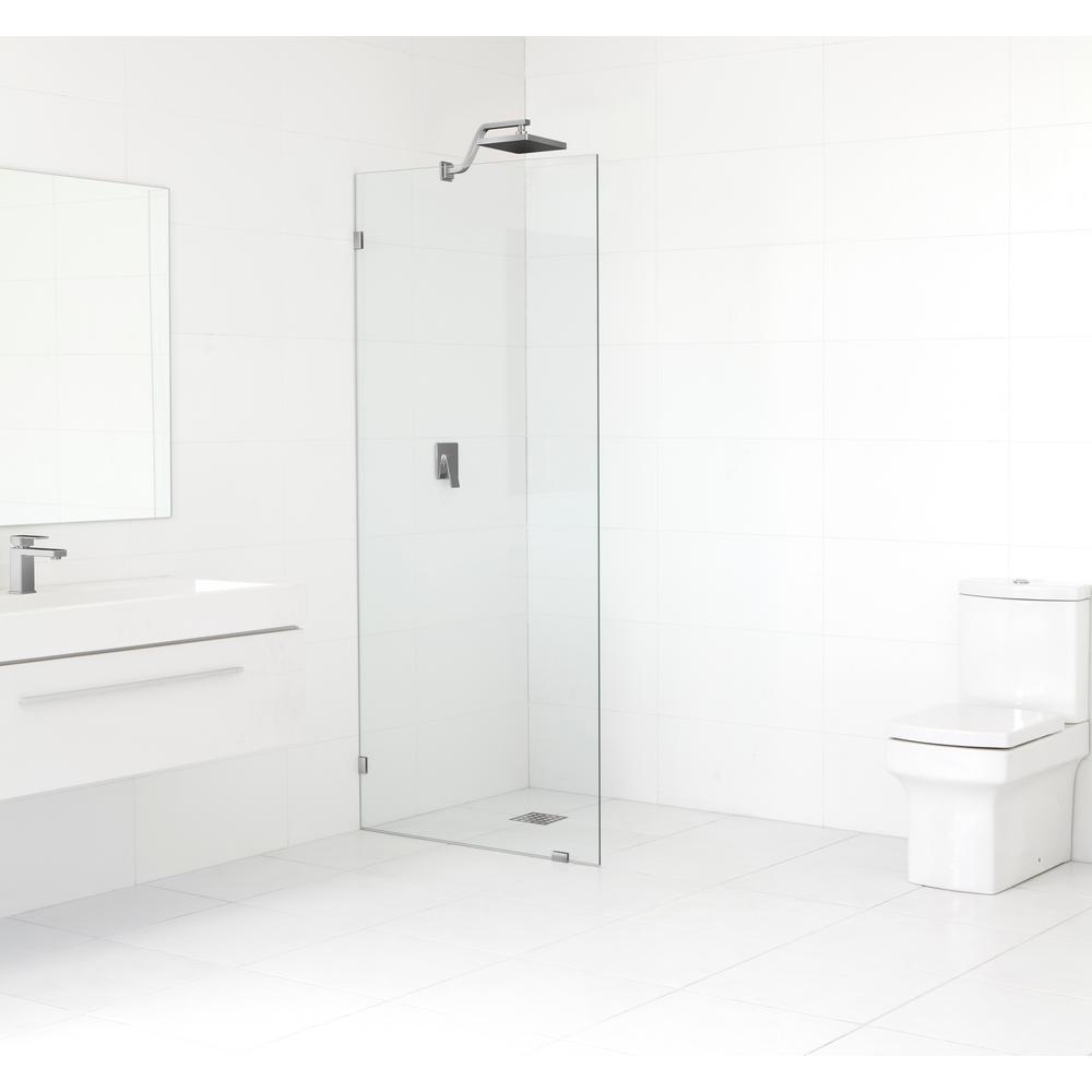 Glass Warehouse 28.5 in. x 78 in. Frameless Fixed Shower Door in Brushed Nickel without Handle