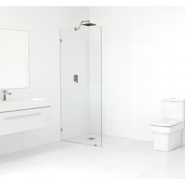34 in. x 78 in. Frameless Fixed Shower Door in Brushed Nickel without Handle