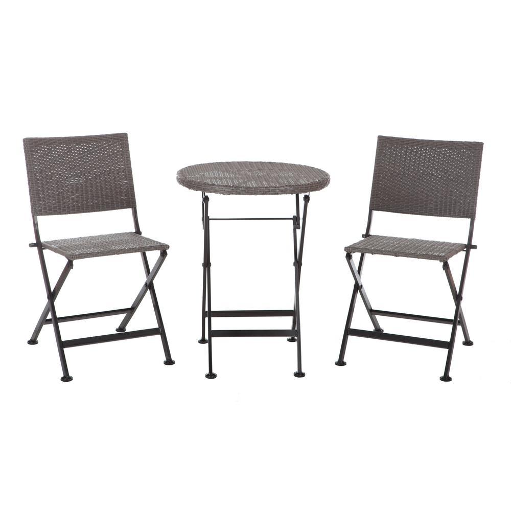patio sense acosta 3 piece wicker folding patio bistro set 62154 the home depot. Black Bedroom Furniture Sets. Home Design Ideas