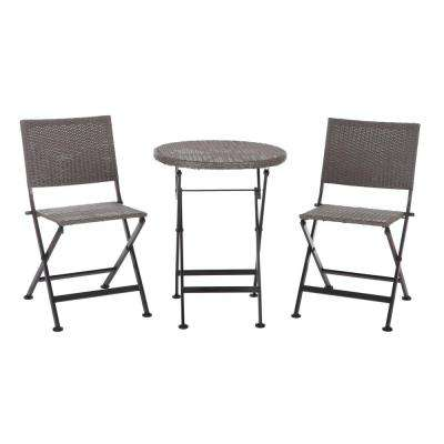 Acosta 3-Piece Wicker Folding Patio Bistro Set