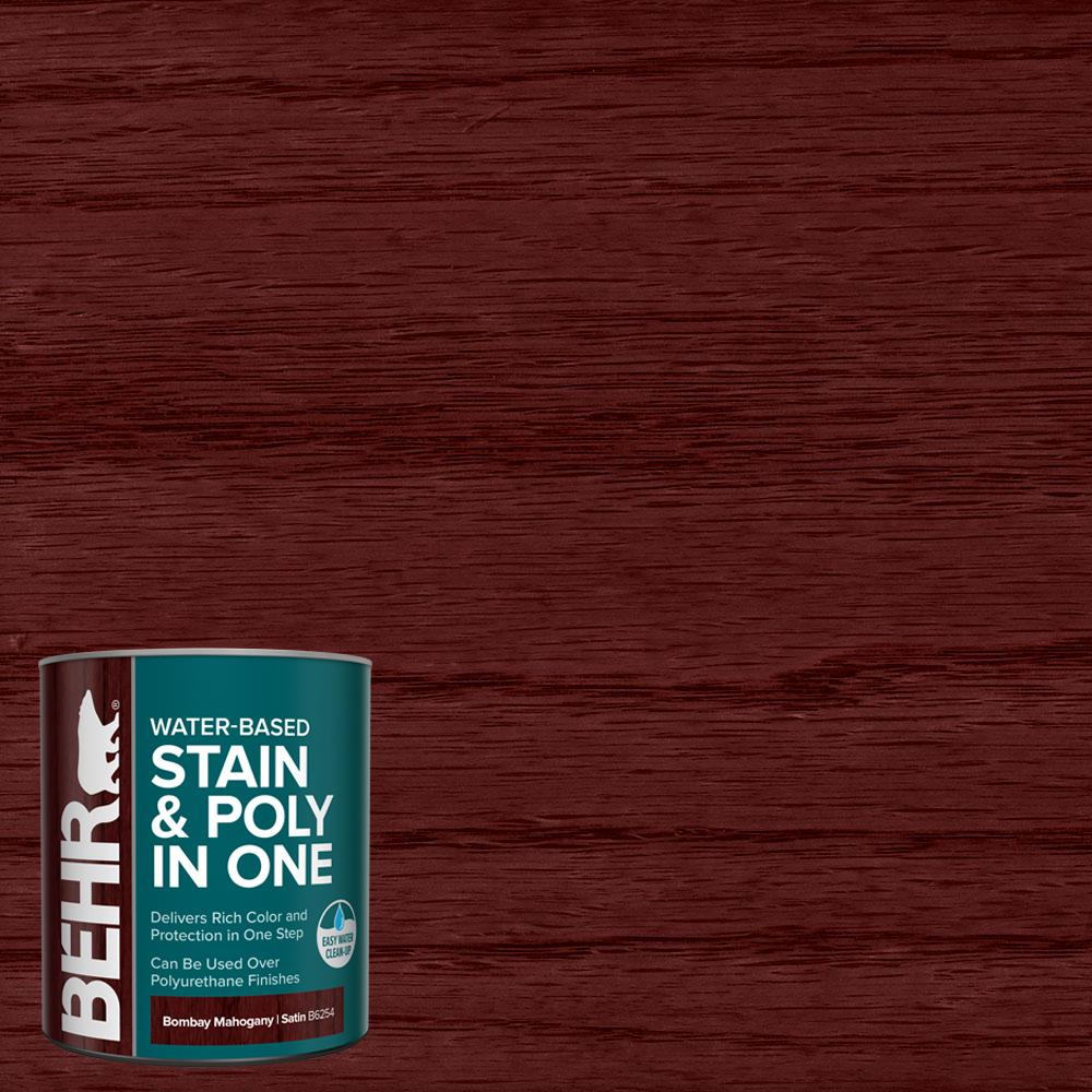 Behr 1 Qt Tis 354 Bombay Mahogany Satin Semi Transparent Water Based Interior Stain And Poly In One B625404 The Home Depot