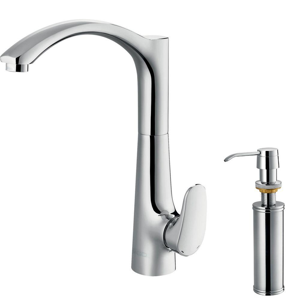 Vigo Single-Handle Kitchen Faucet with Soap Dispenser in Chrome-DISCONTINUED