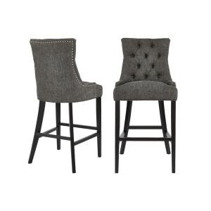 Bakerford Ebony Wood Upholstered Bar Stool with Back and Charcoal Seat (Set of 2) (21.85 in. W x 46.85 in. H)