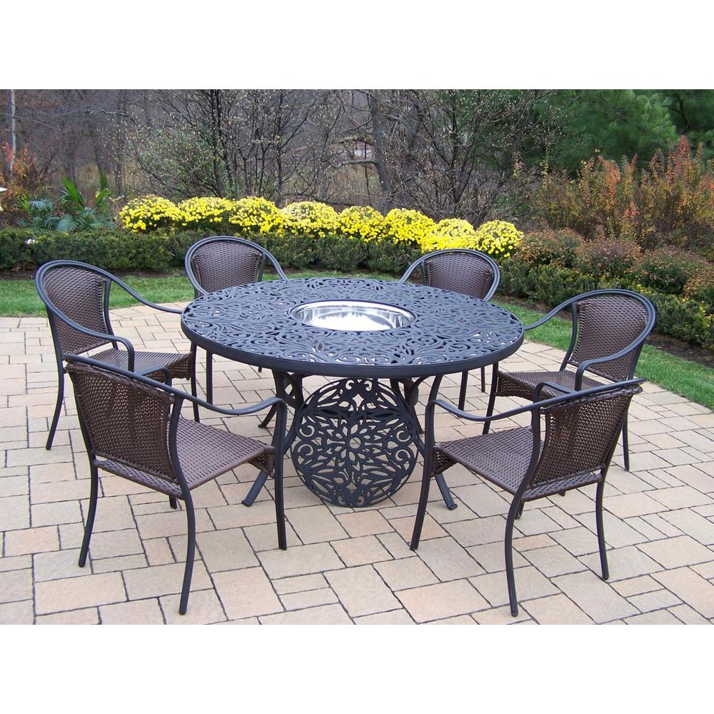 Genial 8 Piece Aluminum Outdoor Dining Set With Stainless Steel Ice Bucket