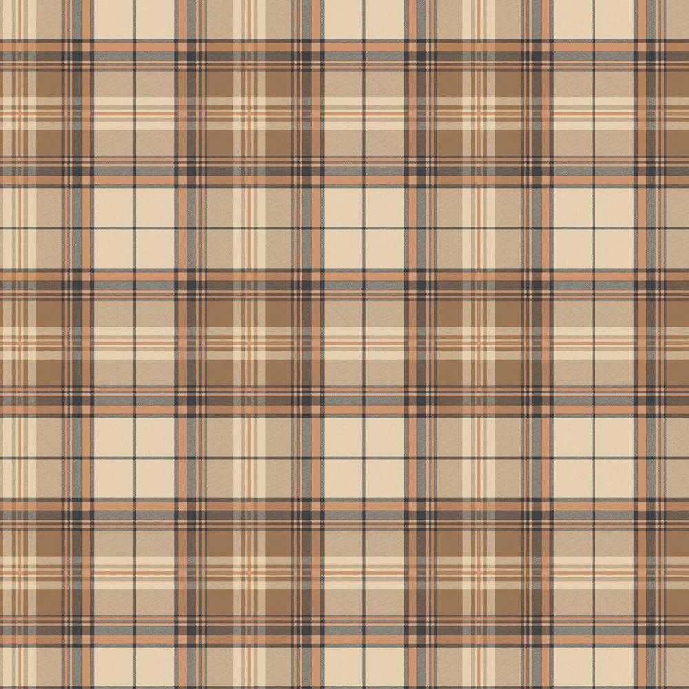 The Wallpaper Company 8 in. x 10 in. Brown Plaid Wallpaper Sample