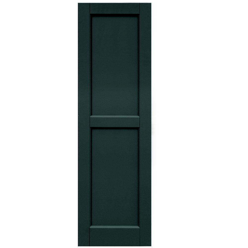 Winworks Wood Composite 15 in. x 50 in. Contemporary Flat Panel Shutters Pair #638 Evergreen