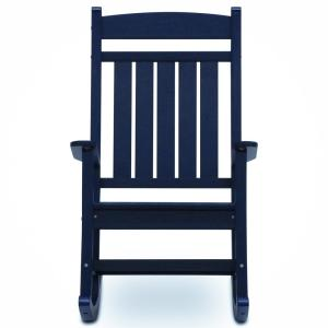 Classic Rocker Navy Plastic Outdoor Rocking Chair