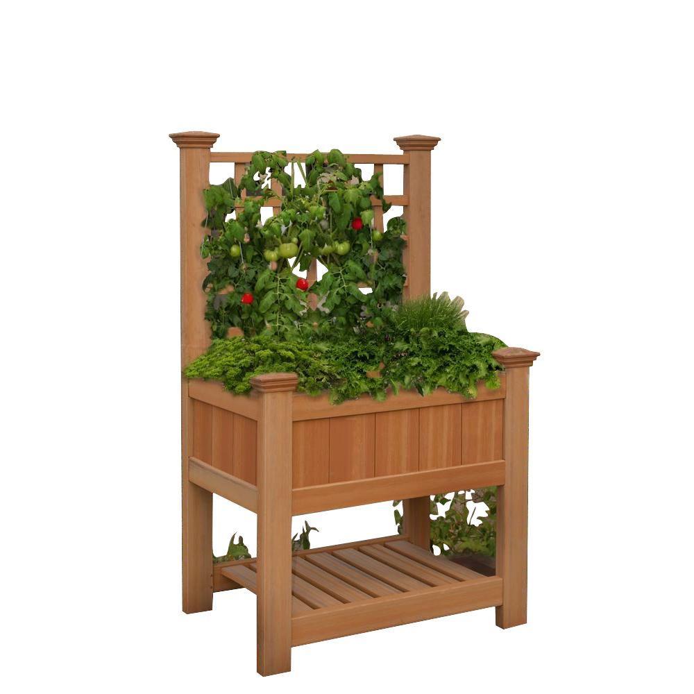 New England Arbors Bloomsbury 36 in. x 24 in. Cedar Vinyl Raised Garden Bed with Trellis