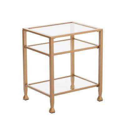 Galena Gold Metal and Glass End Table