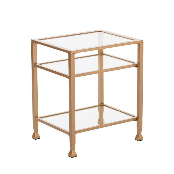 Safavieh Neil Gold And White Glass Top End Table Fox2528a