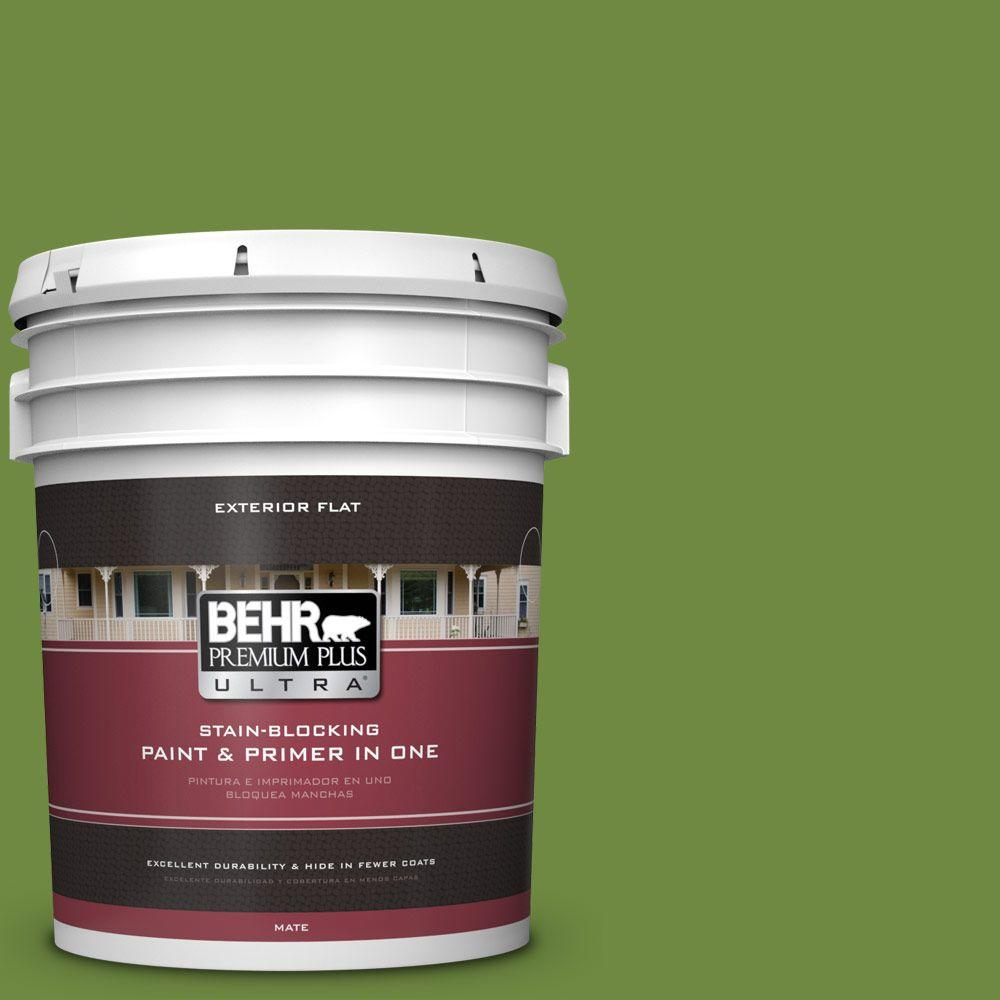 BEHR Premium Plus Ultra 5-gal. #S-H-420 Shamrock Flat Exterior Paint