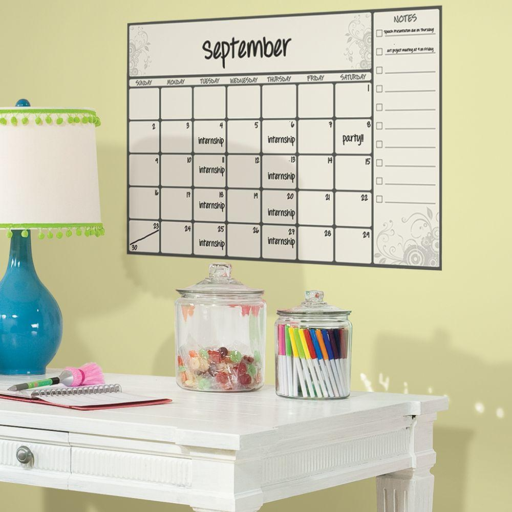 RoomMates 2.5 in. x 27 in. Scroll Dry Erase Calendar Peel and Stick ...