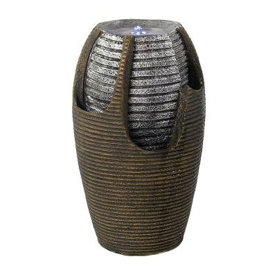 22 in. Bubbling Pot Solar with Battery Backup Spitter Water Fountain