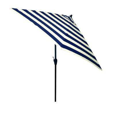 9 Ft. Aluminum Market Tilt Patio Umbrella In Navy Cabana Stripe