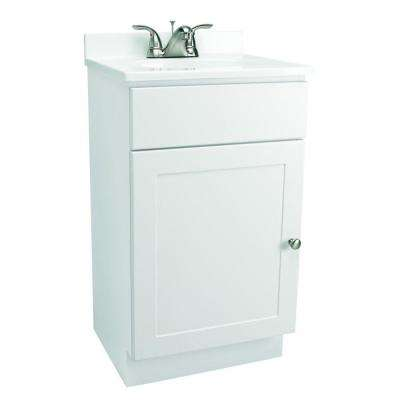 18 in. Vanity in White with Cultured Marble Vanity Top in White