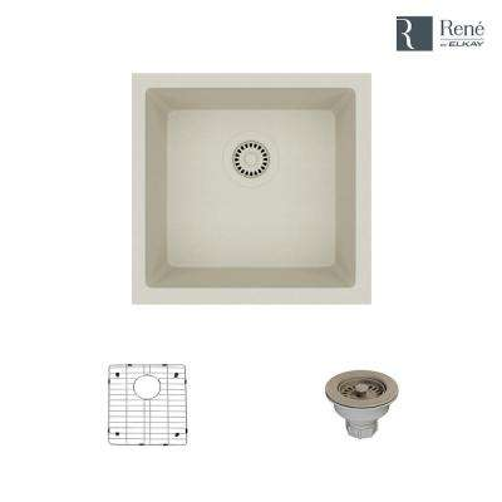 Dual-mount Composite Granite 17-3/4 in. Single Bowl Kitchen Sink in Concrete