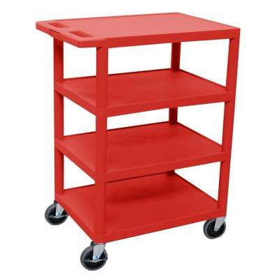 BC 24 in. 4-Shelf Plastic Utility Cart in Red