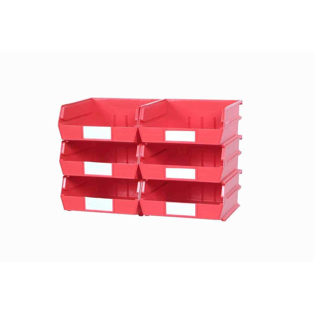 LocBin 2.13-Gal. Medium Bin System in Red (6-Bins)and 2- Wall Mount