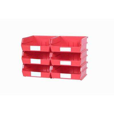 LocBin 2.13-Gal. Medium Bin System in Red (6-Bins)and 2- Wall Mount Rails