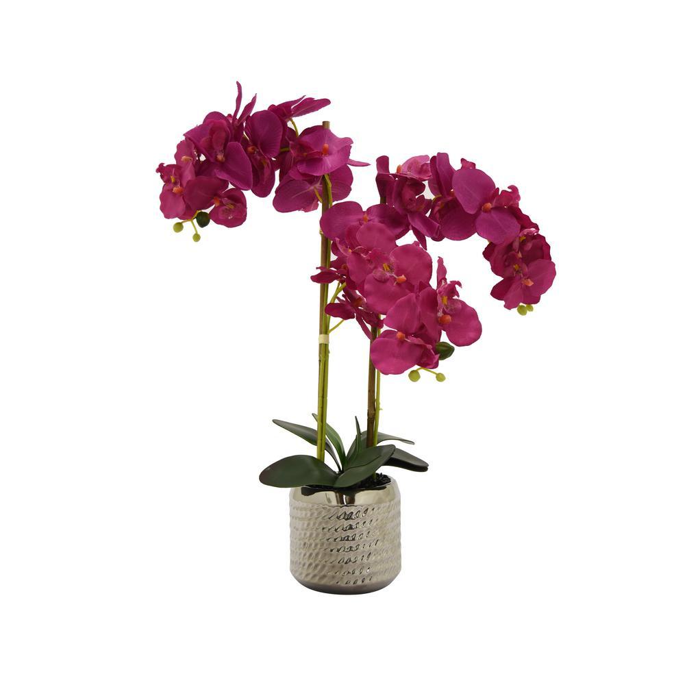 Faux Orchid Flower Pot