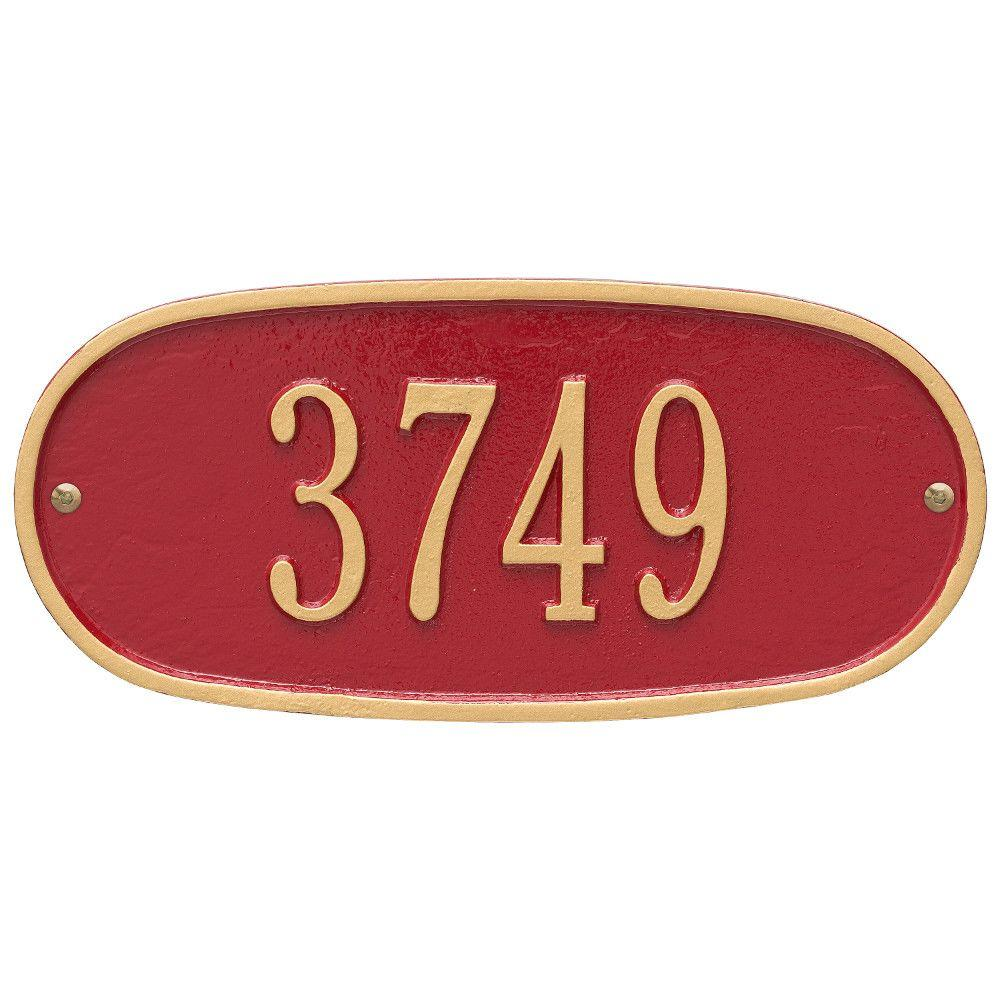 Whitehall Products Standard Oval Red/Gold Wall 1-Line Address Plaque