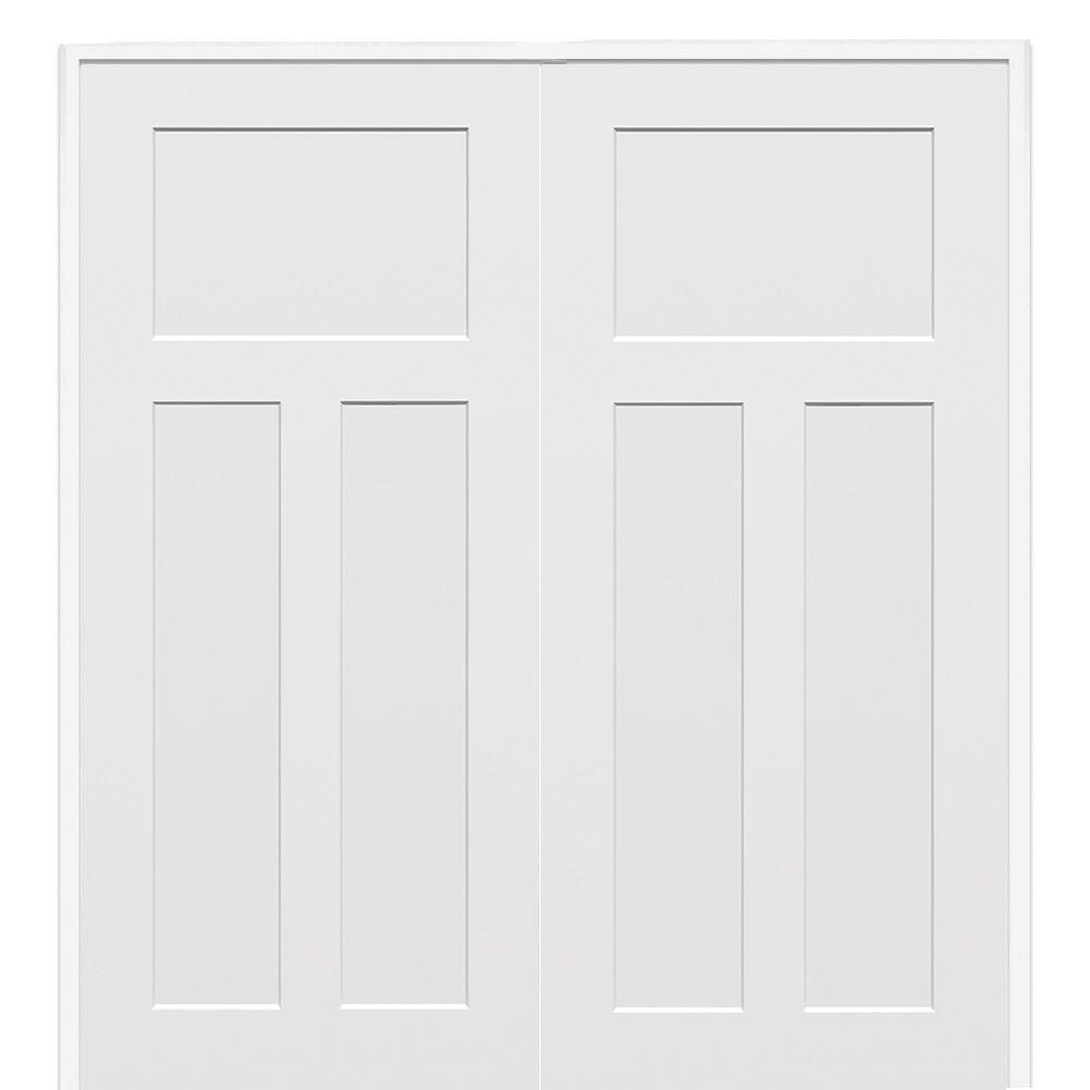 Smooth Craftsman Primed Both Active Solid Core Composite Double Prehung Interior  French Door