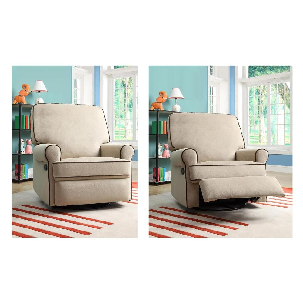Birch Hill Tan Fabric Swivel Recliner