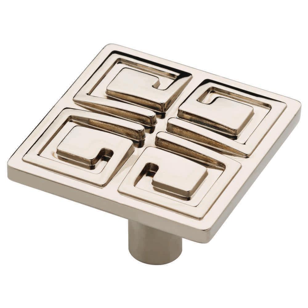 Greek Key 1-3/8 in. (35mm)  Polished Nickel Square Cabinet Knob