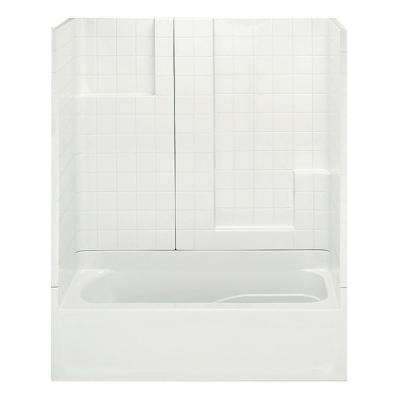 Remodeline Smooth Tile 60 in. x 30 in. x 72 in. 3-Piece Bath and Shower Kit with Right Drain in Biscuit