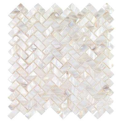 Pacif White Herringbone Pearl Mosaic Tile - 3 in. x 6 in. Tile Sample