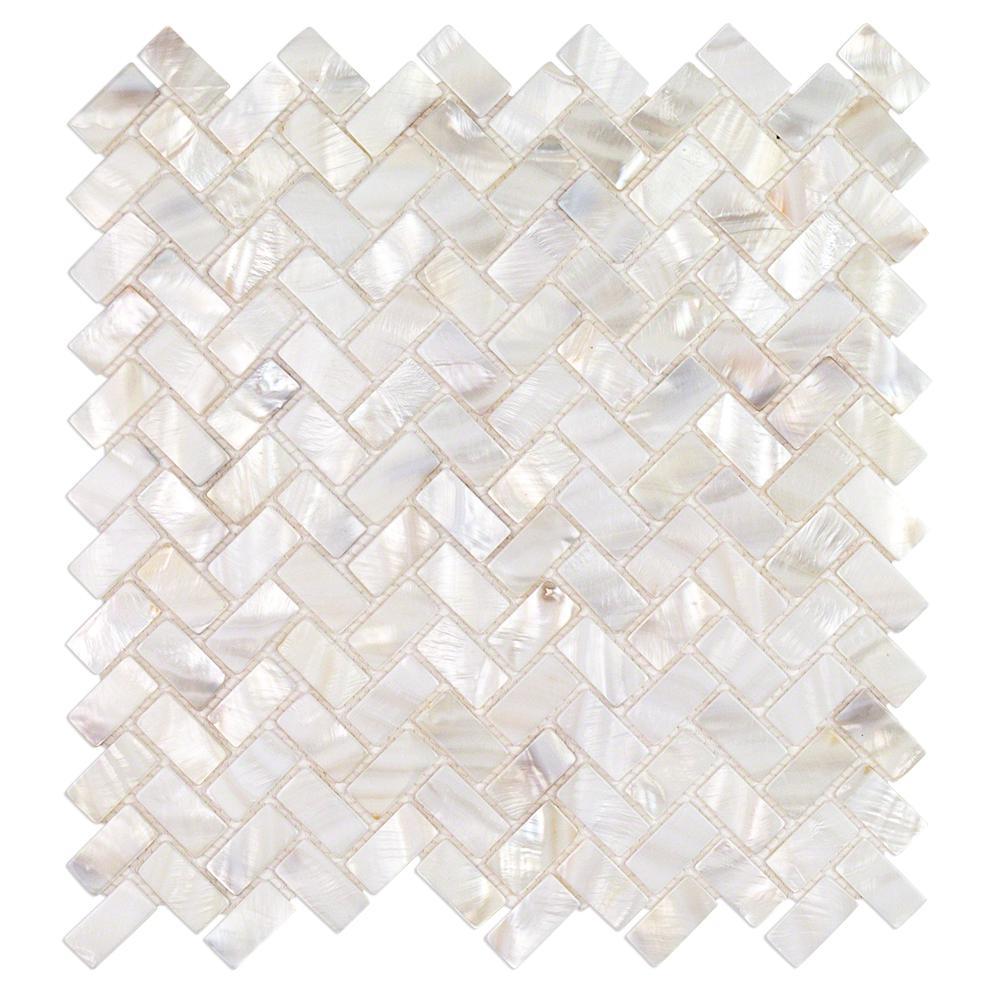Splashback Tile Pacif White Herringbone Pearl Mosaic Tile - 3 in ...