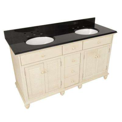 Cottage 61 in. W x 22 in. D Vanity in Antique White with Granite Vanity Top in Black with Double Bowls in White