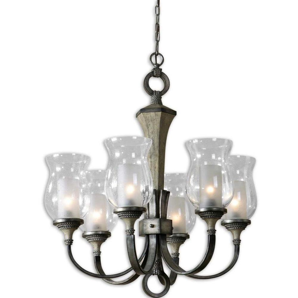 Global Direct Gilman 6-Light Antique Silver Curved Arm Chandelier-DISCONTINUED
