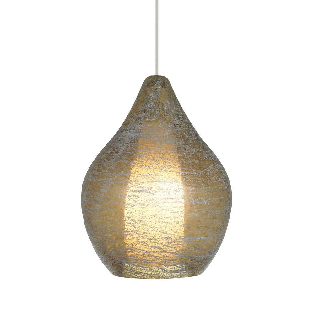 LBL Lighting Relic No. 2 - 1-Light Satin Nickel Xenon Mini Pendant with Amber Shade